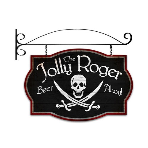 Retro Jolly Roger Tavern Double Sided  w Wall Mount Sign 24 x 16 Inches