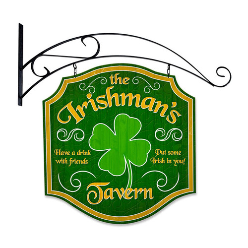 Retro Irishmans Tavern Double Sided  with Wall Mount Sign 20 x 20 Inches