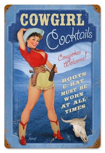 Retro Cowgirl Cocktails  - Pin-Up Girls Metal Sign 36 x 24 Inches