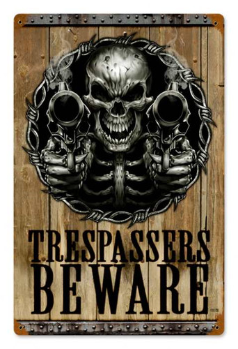 Vintage Trespassers Beware Metal Sign 12 x 18 Inches