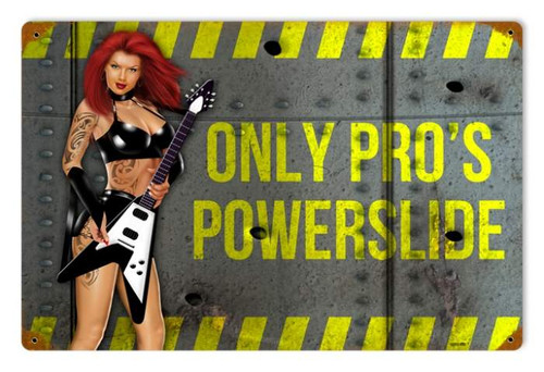 Powerslide  - Pin-Up Girl Metal Sign 18 x 12 Inches