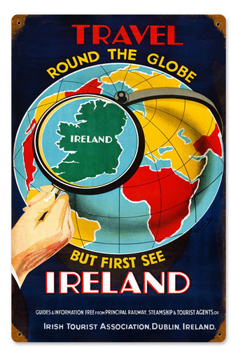 Retro Travel Ireland  Metal Sign   12 x 18 Inches