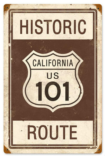 Retro Historic Route 101  Metal Sign   12 x 18 Inches
