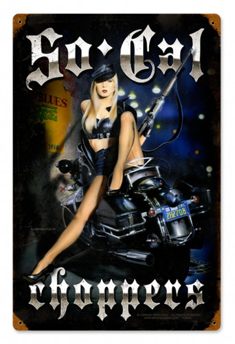 Vintage So Cal Choppers  - Pin-Up Girl Metal Sign 12 x 18 Inches