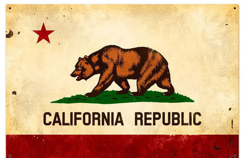 Retro California Flag Metal Sign 36 x 24 Inches