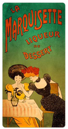 Retro Dessert Liqueur Metal Sign 18 x 36 Inches