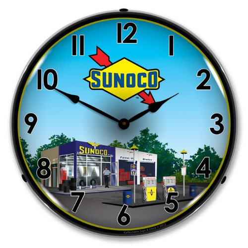 Retro Sunoco Station 2 Lighted Wall Clock