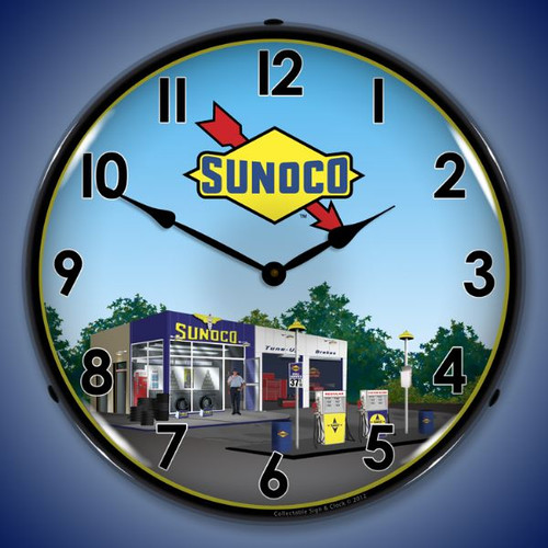 Vintage Sunoco Station 2 Lighted Wall Clock 14 x 14 Inches