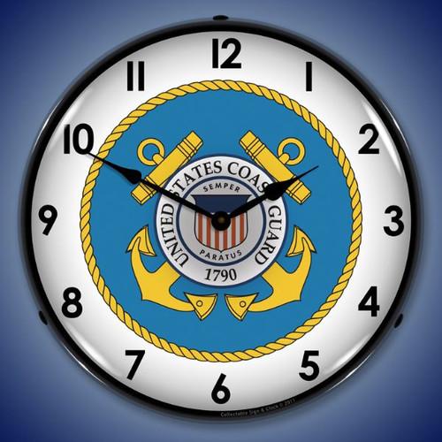 Retro US Coast Guard Lighted Wall Clock 14 x 14 Inches