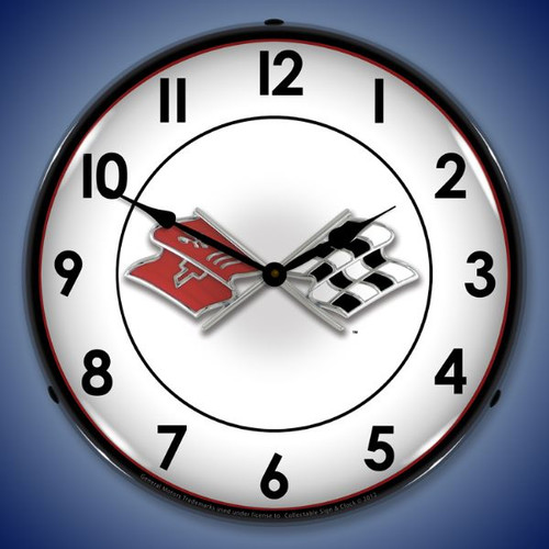Corvette Flags Lighted Wall Clock 14 x 14 Inches
