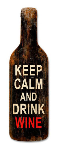 Keep Calm Merlot Custom Metal Shape Sign 8 x 26 Inches