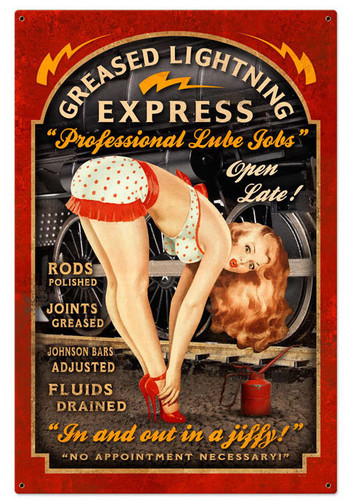Greased Lightning Pinup Metal Sign 24 x 36 Inches