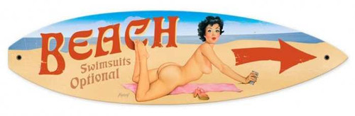 Retro Nude Beach Surfboard  - Pin-Up Girl Metal Sign 22 x 6 Inches