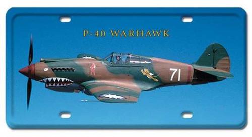 Vintage P-40 Warhawk License Plate 6 x 12 Inches