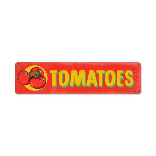 Retro Tomatoes Metal Sign 20 x 5 Inches