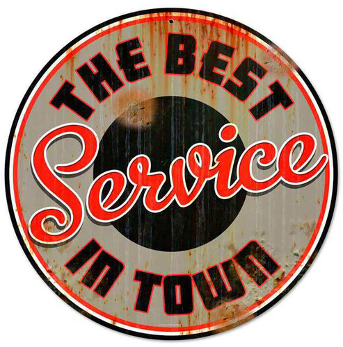 Retro Best Service Round Metal Sign 14 x 14 Inches