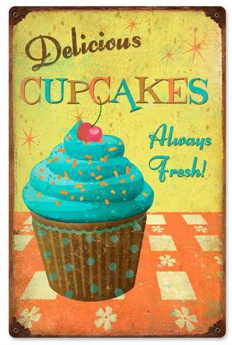 Retro Cupcakes Delicious Metal Sign 12 x 18 Inches