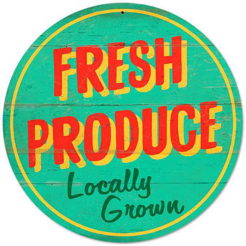 Retro Fresh Produce Round Metal Sign 28 x 28 Inches