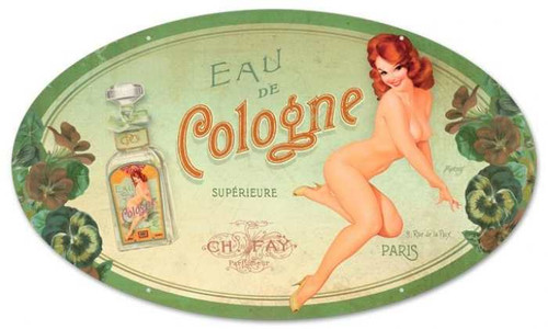 Vintage Cologne Pinup Oval  - Pin-Up Girl Metal Sign 14 x 24 Inches