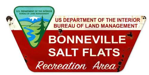 Bonneville Salt Flats Custom Metal Shape Metal Sign 27 x 13 Inches