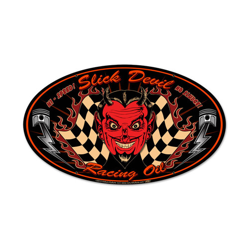 Slick Devil Oval Metal Sign 24 x 12 Inches