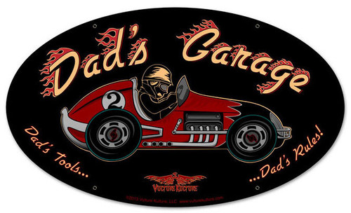 Dad's Garage Racecar Oval Metal Sign 24 x 12 Inches