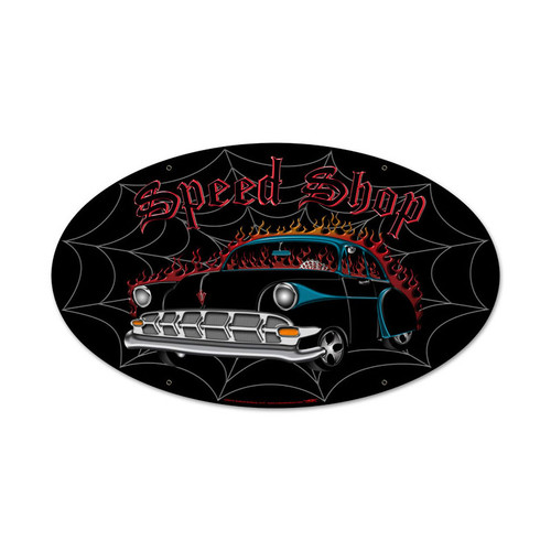 Speed Shop Oval Metal Sign 24 x 12 Inches