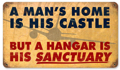 Mans Home Hangar Vintage Metal Sign 14 x 8 Inches