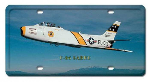 Vintage F-86 Sabre License Plate 6 x 12 Inches