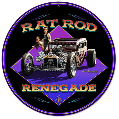 Rat Rod Renegade Round Metal Sign 14 x 14 Inches