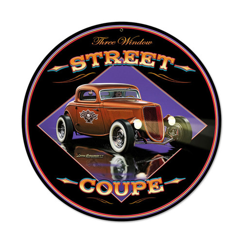 Street Coupe Round Metal Sign 14 x 14 Inches