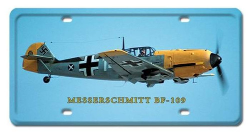 Vintage Messerschmitt BF-109 License Plate 6 x 12 Inches