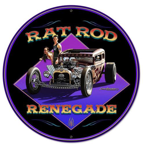 Rat Rod Renegade Round Metal Sign 28 x 28 Inches