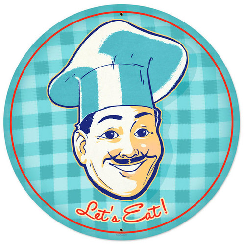 Lets Eat Round Metal Sign 28 x 28 Inches