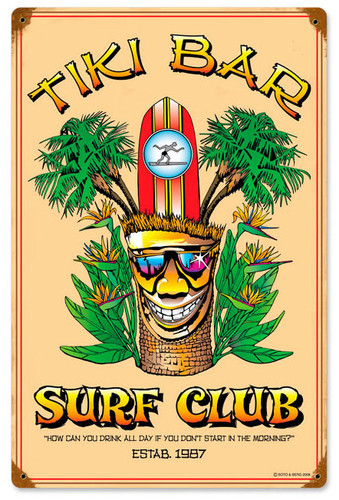 Tiki Bar Vintage Metal Sign 12 x 18 Inches