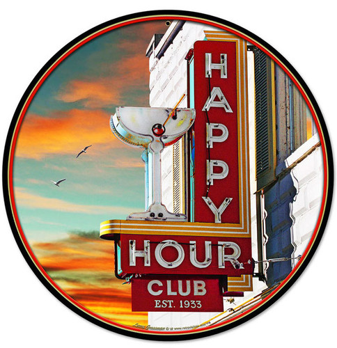 Happy Hour Round Metal Sign 14 x 14 Inches