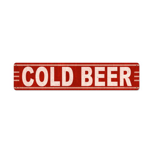 Cold Beer Metal Sign 28 x 6 Inches