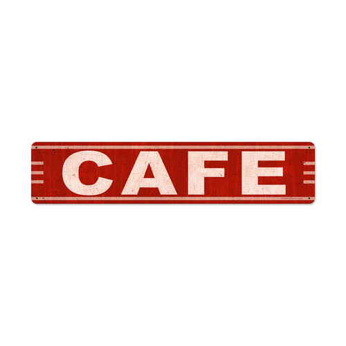 Cafe Metal Sign 28 x 6 Inches