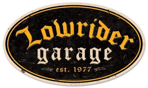 Retro Lowrider Garage Oval Metal Sign  24 x 14 Inches