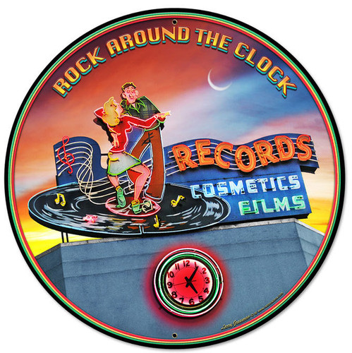 Rock Around the Clock Round Metal Sign 28 x 28 Inches