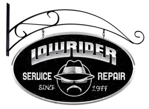 Retro Lowrider Service Double Sided Oval Metal Sign with Wall Mount  24 x 14 Inches