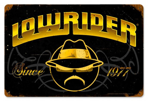 Retro Lowrider Since 1977 Metal Sign   18 x 12 Inches