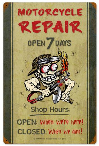 Motorcycle Repair Shop Hours Vintage Metal Sign 16 x 24 Inches