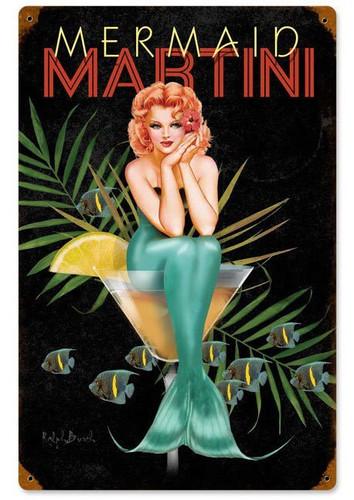 Mermaid Martini Vintage Metal Sign 12 x 18 Inches