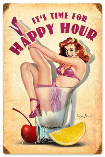 Happy Hour Retro Pinup Metal Sign 12 x 18 Inches