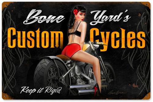 Bone Yard Cycles Vintage Metal Sign 18 x 12 Inches