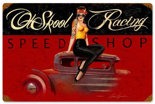 Ol Skool Speed Shop Vintage Metal Sign 18 x 12 Inches