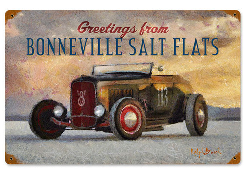 Bonneville Salt Flats Vintage Metal Sign  18 x 12 Inches