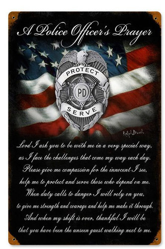 Police Officers Prayer Metal Sign  12 x 18 Inches