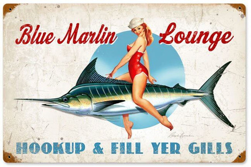 Blue Marlin Lounge Vintage Metal Sign  18 x 12 Inches